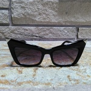 Black square cat eye silver tip sunglasses